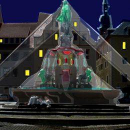 Obermarkt Freiberg Lichtkonzept Brunnen by Ruairí O'Brien, Visualisierung der Beleuchtung, Spots auf Bronnenmitte gerichtet