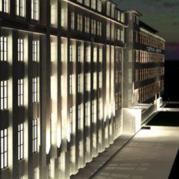 Lichtkonzept Spinnereimaschinenbau Chemnitz by Ruairí O'Brien, Beleuchtung Gebäudefassade