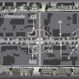 Bahnhofstraße Berlin-Lichtenrade Lichtkonzept gesamt by Ruairí O'Brien, Übersicht des Lichtkonzepts