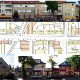 Gestaltfibel Bahnhofsstraße Berlin-Lichtenrade, Ansichten der Häuserfronten und eine mSkizze mit deren Positionen