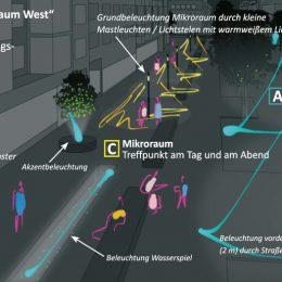 Bahnhofstraße Berlin-Lichtenrade Beispiel Mikroraum M1, individuelles Lichtkonzept, Verkehrsraum, Ladenfront, Konzeptzeichnung by Ruairí O'Brien