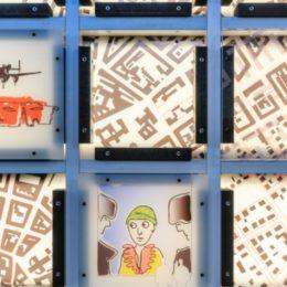 Gedenkwand Slaughterhouse Five, Dresden, Ruairí O'Brien, Informationsskulptur in Halle 1 Messe Dresden, Stradtplan und Skizzen Ausschnitt