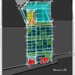 Konzept Hologrammfassade Jena, Zeichnung gelb rot blau by Ruairí O'Brien