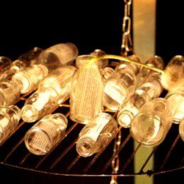 """Plattenbaumuseum """"Betonzeitschiene"""" Microlightsculpture """"Eating the Light"""", Gläser mit Zeitungsausschnitten und Licht by Ruairí O'Brien"""