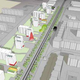 Ruairí O'Briens Vision für das Gebiet Gorbitz-Mittelachse. Skizze für ein attraktives Angebot für Junges Wohnen mit Gebäuden, S-Bahn-Linie und Bäumen.