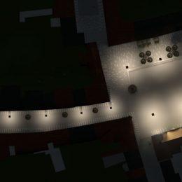 Skizze Marktplatz totgau und angrenzende Straße bei Nacht mit Beleuchtung aus der Vogelperspektive.