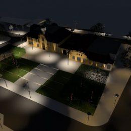 Lichtkonzept für den Bahnhofsvorplatz des Kulturbahnhof, Radebaul-Ost bei Nacht