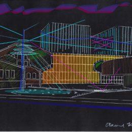 Skizze eines Beleuchtungskonzepts für das Kraftwerk Mitte in Dresden von Ruairí O'Brien