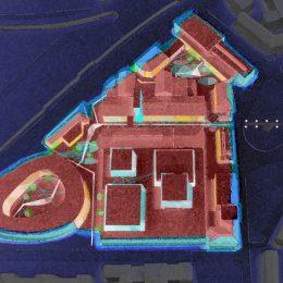 Beleuchtungskonzept für Kraftwerk Mitte in Dresden von Ruairí O'Brien, 3D-Skizze mit eingezeichneten Beleuchtungsmaßnahmen