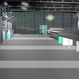 Skizze für Lichtkonzept des Dresdner Flughafens in grau und grün