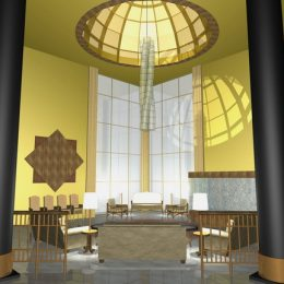 Innenraumbeleuchtung für einen Palst in Abu Dhabi, Palast mit gelben Wänden und einem langgezogenen Leuchtenelement