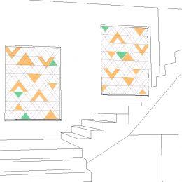 Lichtkonzept des St. Joseph-Stift, Skizze mit Treppen und organgen und grünen Dreiecken