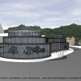Haus der Nachhaltigkeit in Gesamtansicht, Skizze von Glasgebäude