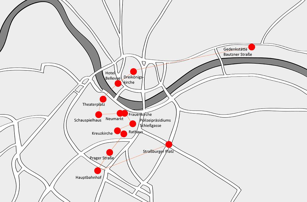 Lageplan mit eingezeichneten Station des Revolutionsweges in Dresden.