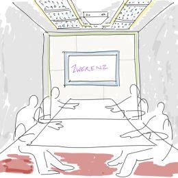 Skizze eines Konferenzraumes für ein Bürogebäude in Dresden