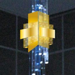 Leuchtendesign in gelb und blau für einen Privatpalast in Abu Dhabi