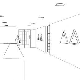 Skizze des Empfangsbereichs des St. Joseph-Stift Dresden für ein einheitlich-leitendes Lichtkonzept