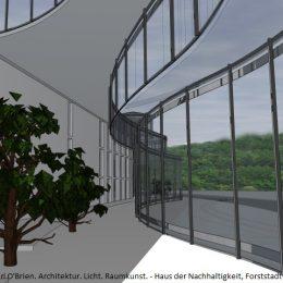 Haus der Nachhaltigkeit von innen, Bäume und Glaswand
