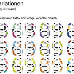 """Farbvarianten von 25 Tafeln mit dem Motiv """"89"""", die ein Gesamtbild erzeugen."""