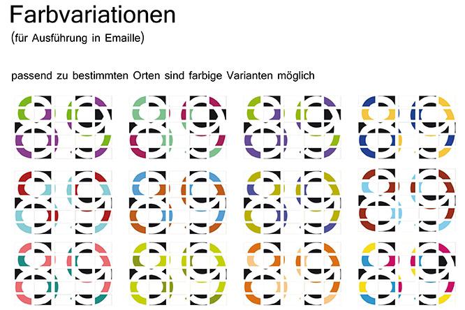 Farbvarianten von 25 Tafeln mit dem Motiv