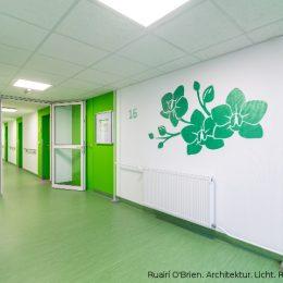 Hausflur in einem Wohnhaus in Pirna in grüner Gestaltung.