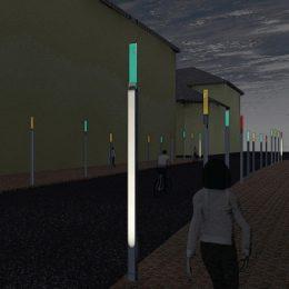 Lichtinszenierung am Gladbacher Tor mittels Lichtstelen am Abend. Lichtstelen bilden das ehemalige Tor nach.