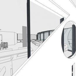 Entwurf für ein Restaurant / Bistro / Apartments am Postplatz Dresden