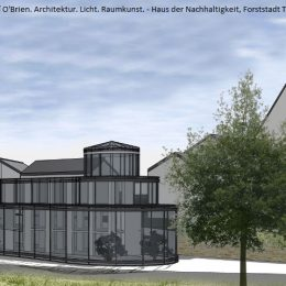 Haus der Nachhaltigkeit von außen, Konzept, Skizze