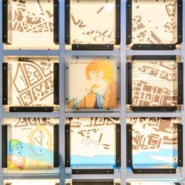 Bildausschnitt der Gedächtniswand Slaughterhouse 5 mit einem Portrait von Kurt Vonnegut, dem Autor des gleichnamigen Anti-Kriegs-Romans.