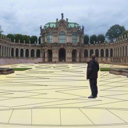 Bodengestaltung für den Zwinger in Dresden, gelber Boden mit geometrischen Formen