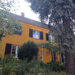 Gesamtansich von Haus Franke in Orange, Haus mit Bäumen und Büschen davor