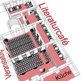 Literaturcafé in Dresden, Etagenansicht in weiß und rot