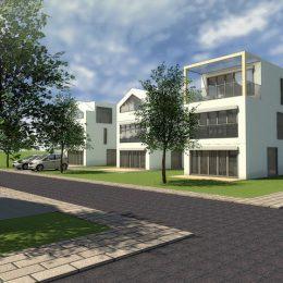 Wohnsiedlung in Frankfurt/Riedberg mit 3 Wohnhausvarianten entwurfen von Ruairí O'Brien.