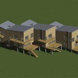 Modell von 3 Häusern vom Typ Haus Priesnitz.