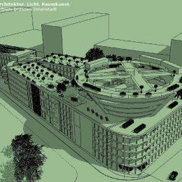 Gesamtansicht des Mobilitätszentrums in Dresden. Skizze des Mobilitätskonzepts von Ruairí O'Brien.