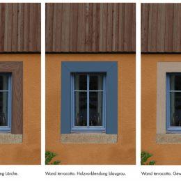 3 Farbvarianten für das Bauernhaus, Terracotta-farbene Wand mit unterschiedlichen Fensterumrahmungen