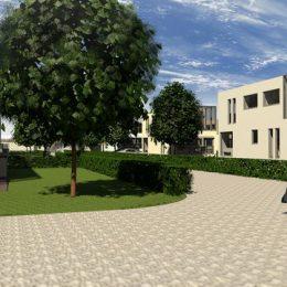 Ein Fußgänger im Wohngebiet Menageriegärten in Dresden. Modell des Wohngebiets von Ruairí O'Brien.