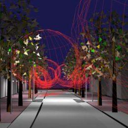Beleuchtungsspiel Bahnhofstraße Berlin Lichtenrade mit Bäumen