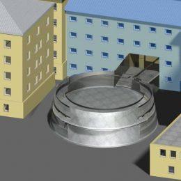 Nahansicht des Neubaus für das Kaßberg-Gefängnis im Modell.