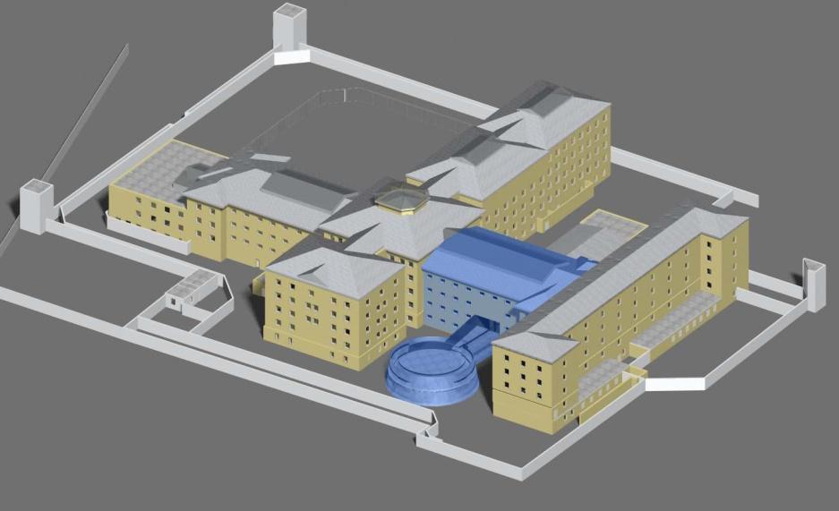 Modell für den Lern- und Gedenkort Kaßberg. Kennzeichnung eines Neubaus mit blauer Farbe.