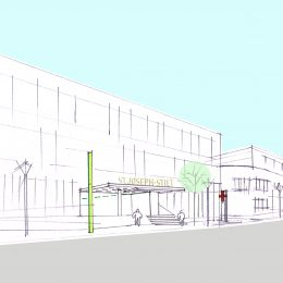 Skizze Außenorientierungskonzept für das Krankenhaus St. Joseph-Stift am Tag