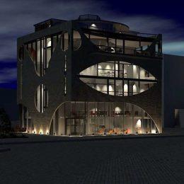 Modell für ein Restaurant Dresden im dunklen, entwurfen von Ruairí O'Brien.
