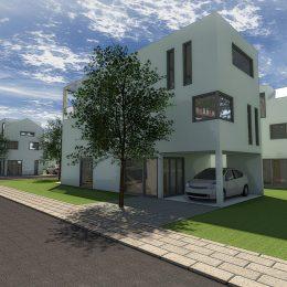 Konzept zu einem Stadthaus mit Loftcharakter für eine Wohnsiedlung in Frankfurt/Main entwickelt von Ruairí O'Brien. Wohnhaus mit Baum im Vordergrund.