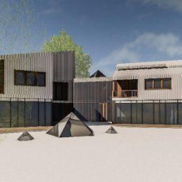 Detailliertes Modell vom Mehrgenerationenhaus Pillnitz mit Innenhof