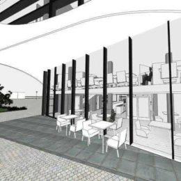 Skizze von Ruairí O'Brien für ein Restaurant am Postplatz. Die Skizze zeigt Sitzmöglichkeiten im Außenbereich.