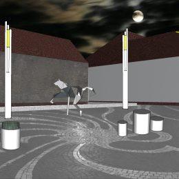 Skizze für Denkmal in Lviv, Ukraine, graue Skizze mit Skulptur, Masten und runden Zylinder-Elementen bei Nacht