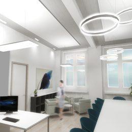 Dekanatsbüro mit Tischen, Stühlen und Lampen