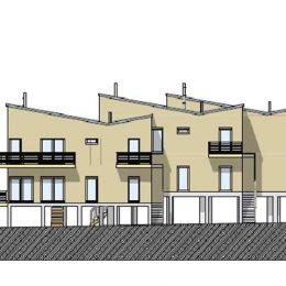 Eine Skizze vom Typ Haus Priesnitz für die Baugemeinschaft Blaue Fabrik. Ansicht von 3 Häusern.