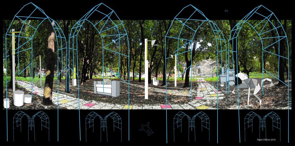 Kloster in Lviv als als touristisches Denkmal. Entwurf für Gestaltung des Areals von Ruairí O'Brien.