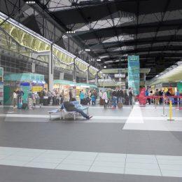 Lichtkonzept für den Flughafen Dresden, Skizze für den Schalter/ Warte/ Shopbereich